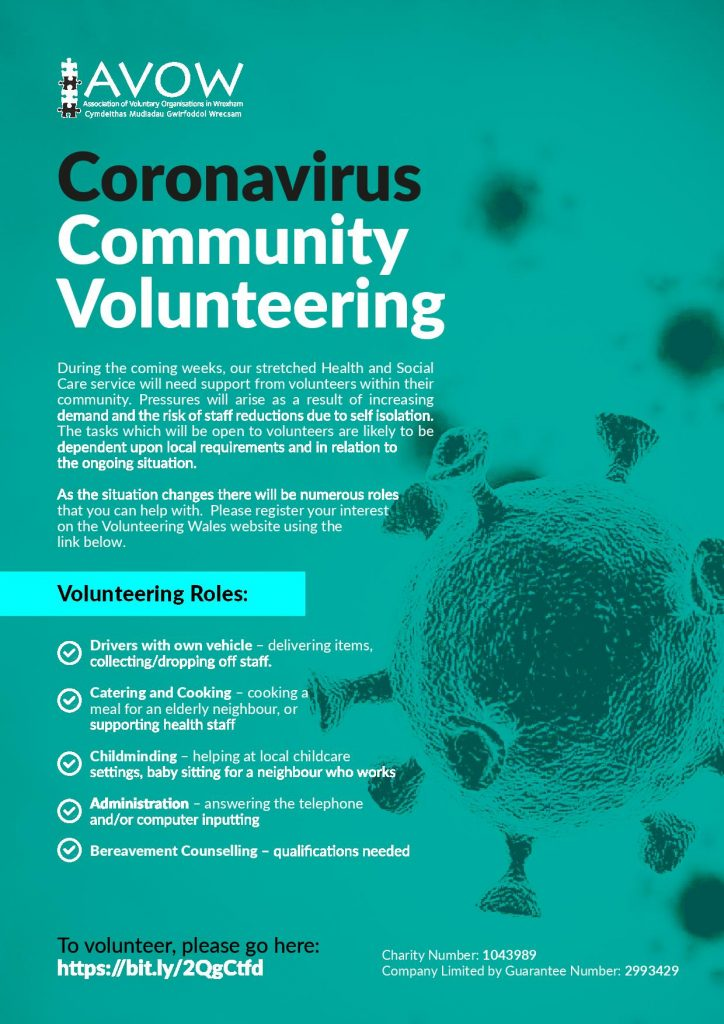 Coronovirus Community Volunteering Call-out. To sign-up to volunteer your time during the outbreak please contact info@avow.org
